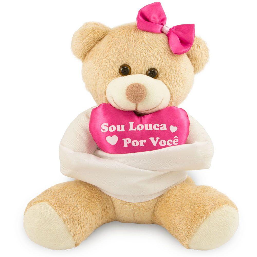 Urso de Pelúcia - Sou Louca Por Você  - 20 cm - Escolha Sua Cor - Toybrink