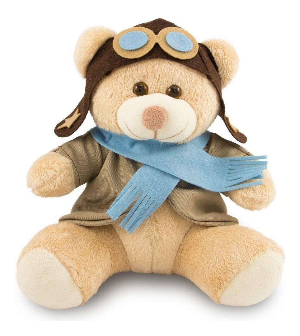 Urso de Pelúcia - Ursinho Aviador  - Bege 30 cm - Toybrink