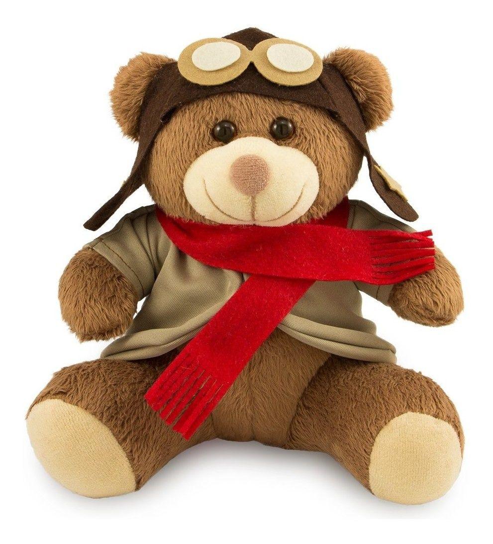 Urso de Pelúcia - Ursinho Aviador  - Marrom 30 cm - Toybrink