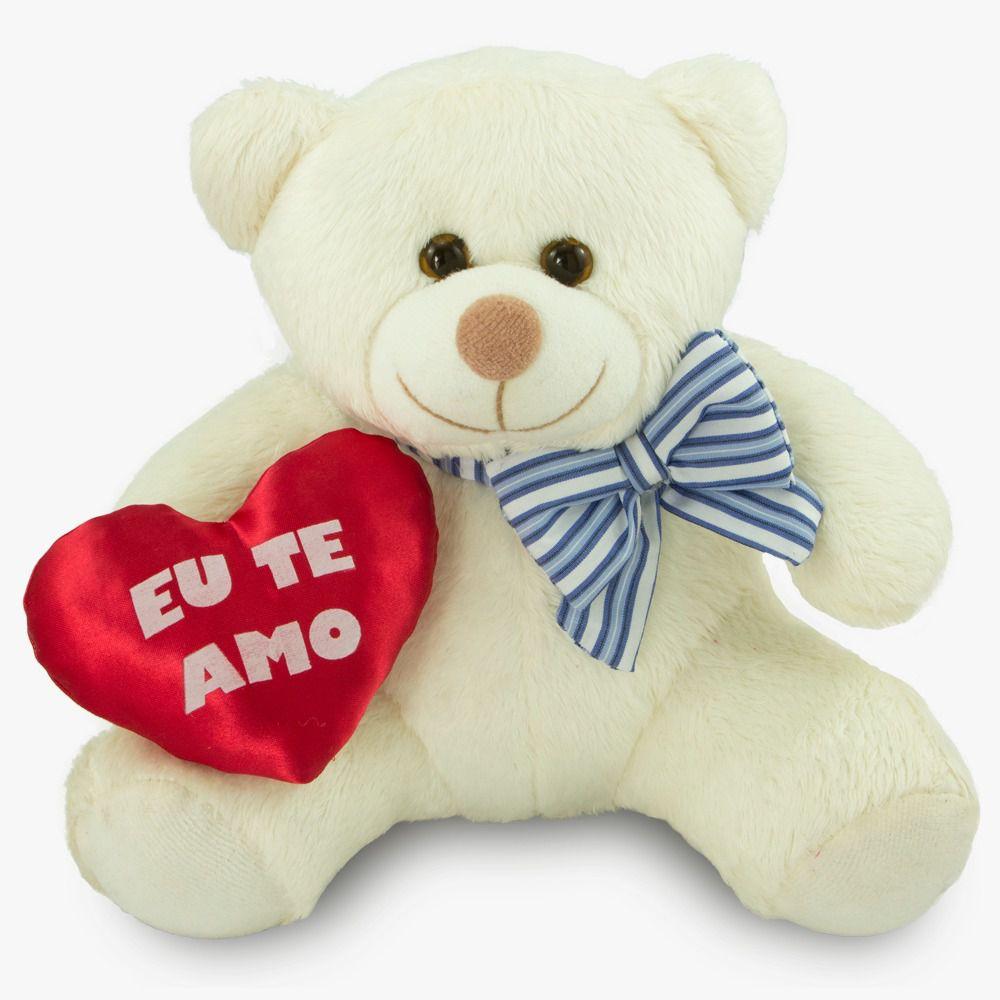 Urso de Pelúcia - Ursinho Eu Te Amo  - Branco 20 cm - Toybrink