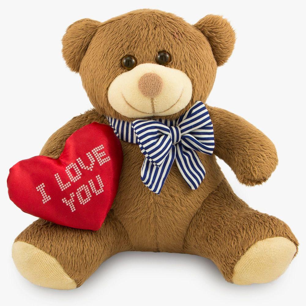 Urso de Pelúcia - Ursinho I Love You  - Marrom 20 cm - Toybrink