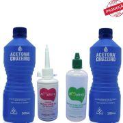2 Acetona Cruzeiro 500ml + Kit Amolecedor de Cutícula Amolece