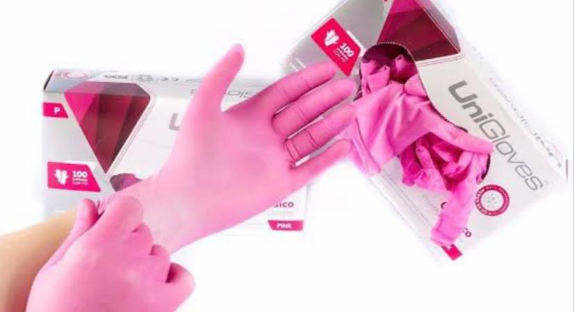 Luva Látex Rosa Pink Unigloves S/pó caixa c/100