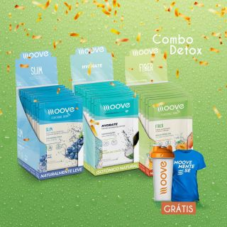 Combo Detox Moove 1 Display Fiber + 1 Display Slim + 1 Display Hydrate grátis 1 camiseta + 1 Coqueteleira
