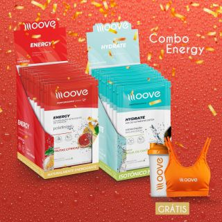 Combo Energia Moove - Display Energy + Display Hydrate  Grátis 1 Top + 1 Coqueteleira