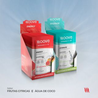 Kit Moove Nutrition  Energy Frutas Cítricas + Moove Hydrate Coco - Display com 12 sachês