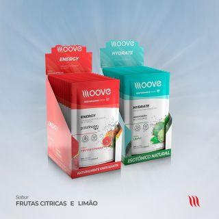 Kit Moove Nutrition  Energy Frutas Cítricas + Moove Hydrate Limão - Display com 12 sachês cada