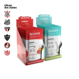 Kit Moove Nutrition  Energy Frutas Cítricas + Moove Hydrate Coco - Display com 12 sachês cada
