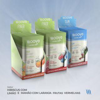 Kit Moove Nutrition Fiber Frutas Vermelhas e Mamão com Laranja + Slim Hibiscus com Limão - Display com 12 sachês cada + Brinde Garrafa Moove Nutrition