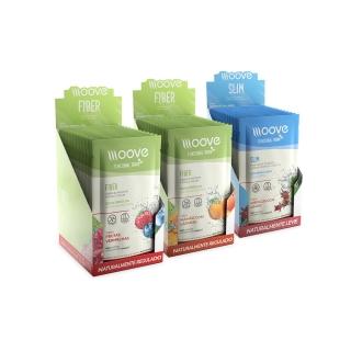 Kit Moove Nutrition Fiber Frutas Vermelhas e Mamão com Laranja + Slim Hibiscus com Limão - Display com 12 sachês cada