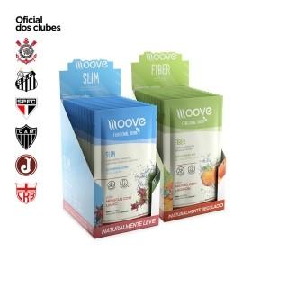 Kit Moove Nutrition Slim Hibiscus com Limão + Moove Fiber Mamão com Laranja - Display com 12 sachês cada