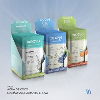 Kit Moove Nutrition Slim Uva + Fiber Laranja com Mamão + Hydrate Coco - Display com 12 sachês cada + Brinde Garrafa Moove Nutrition