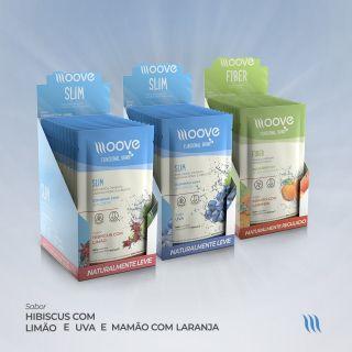 Kit Moove Nutrition Slim Uva + Slim Hibiscus com Limão + Fiber Mamão com Laranja - Display com 12 sachês cada + Brinde Garrafa Moove Nutrition