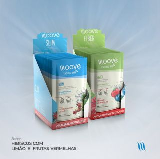 Kit Moove Nutrition  Slim Hibiscus com Limão + Moove Fiber Frutas Vermelhas - Display com 12 sachês cada