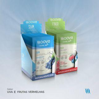 Kit Moove Nutrition  Slim Uva + Moove Fiber Frutas Vermelhas - Display com 12 sachês cada