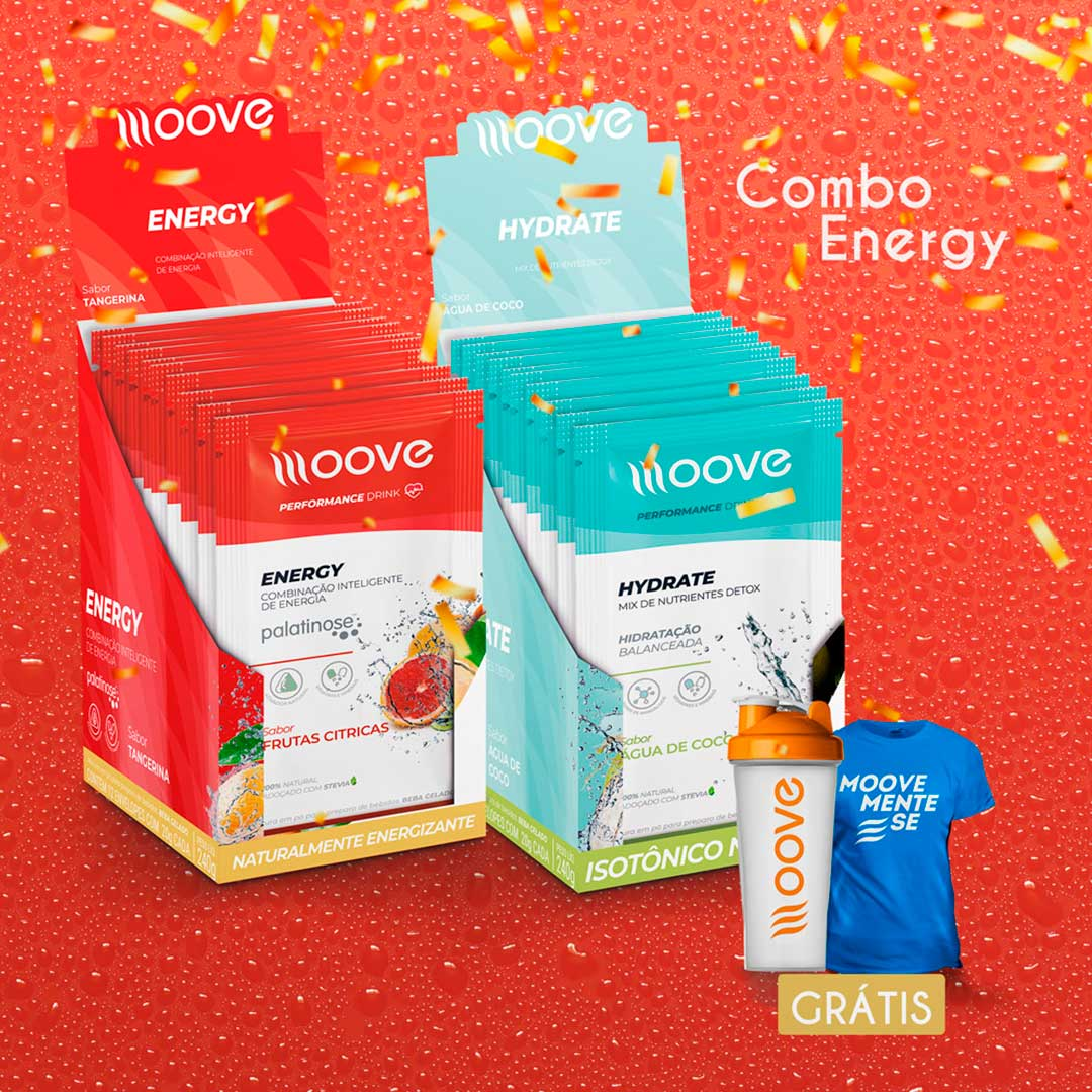 Combo Energia Moove - Display Energy + Display Hydrate  Grátis 1 camiseta + 1 Coqueteleira