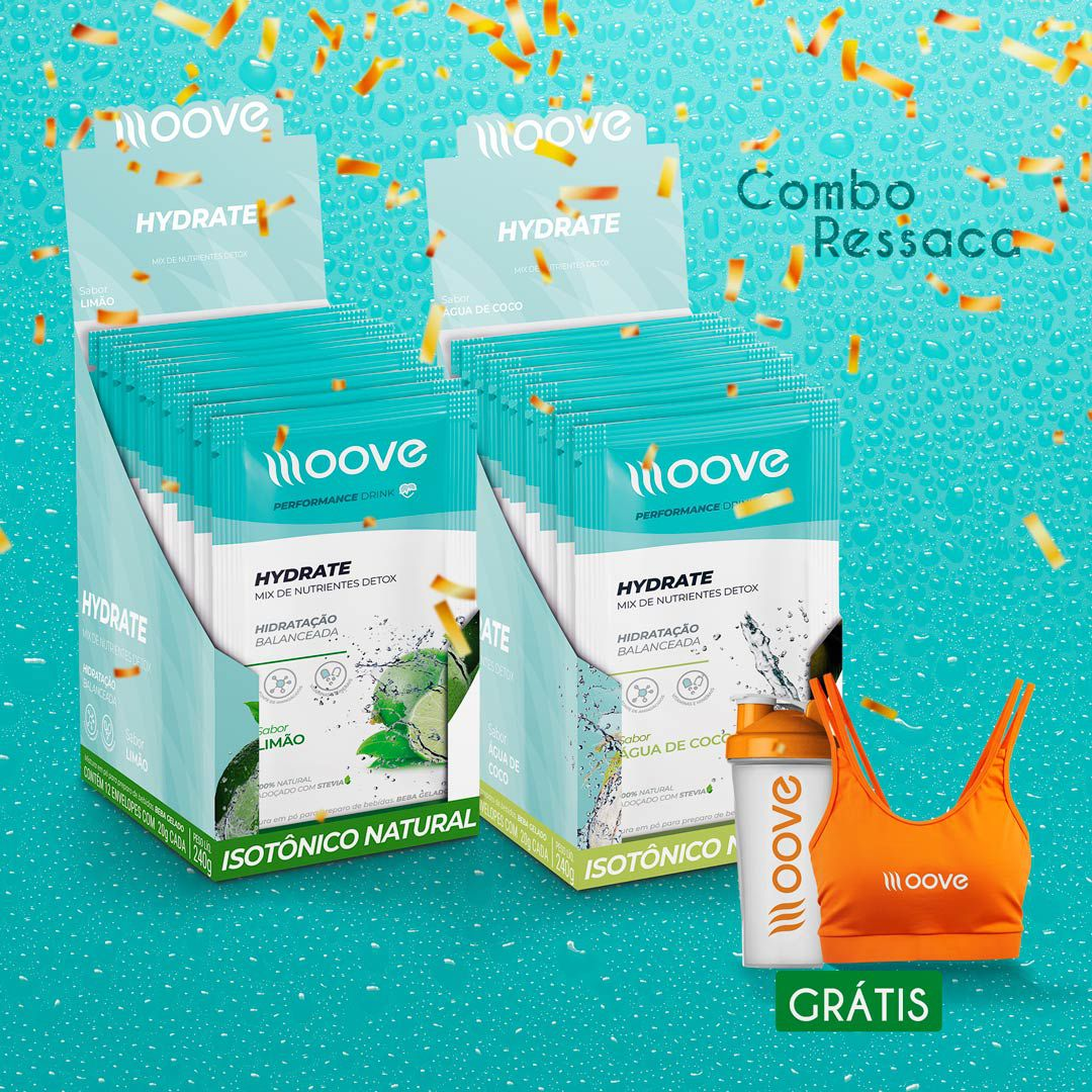 Combo Ressaca Moove - 2 displays Hydrate  Grátis 1 Top + 1 Coqueteleira