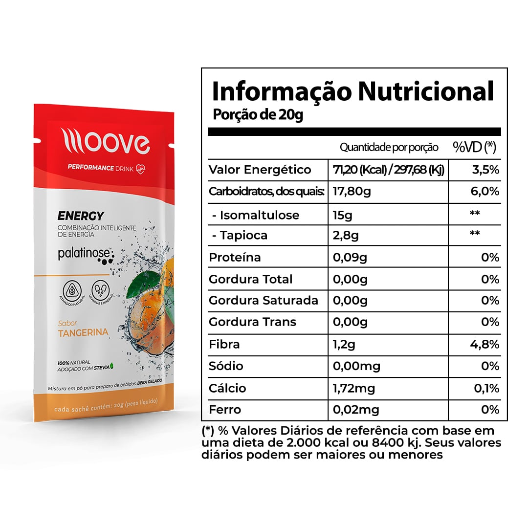 Kit 02 Moove Nutrition Energy Tangerina - Display c/ 12 sachês cada
