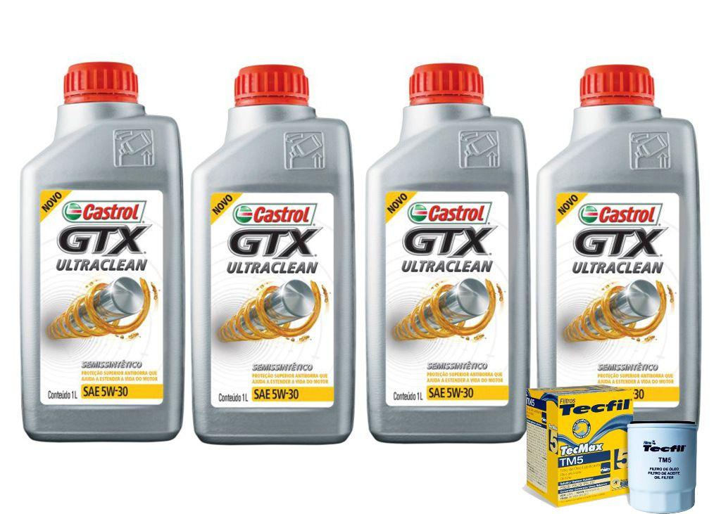 4 Litros Castrol Gtx 5w30 Sn Ultraclean + Filtro Tm5 Fiat
