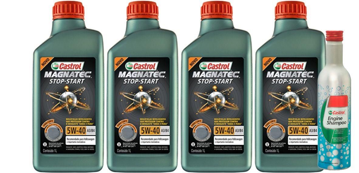 4 Lts Castrol 5w40 MAGNATEC 5W-40 A3/B4 Stop Start + Shampoo Engine