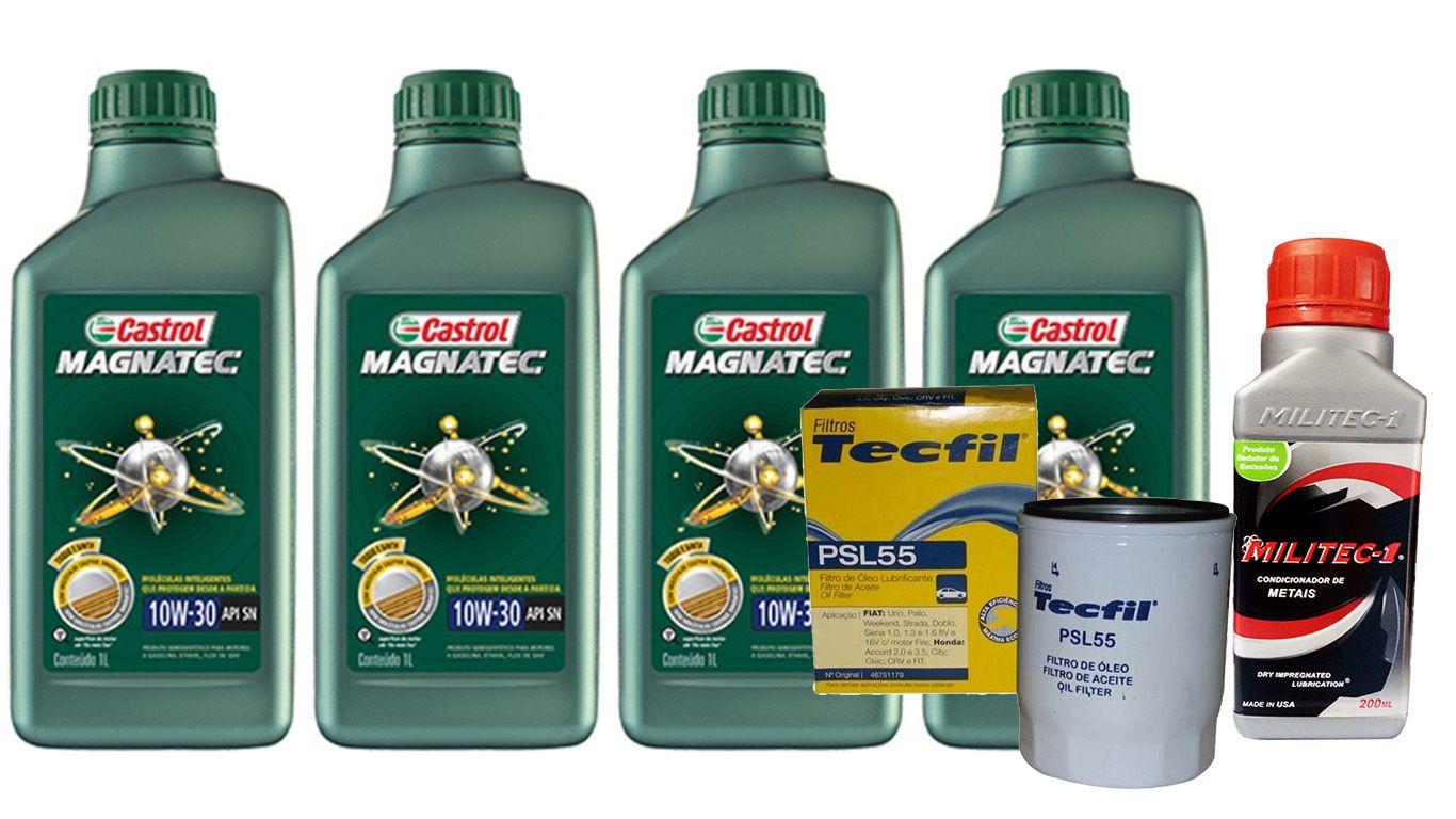 4 Lts Castrol Magnatec 10w30 Sn + Filtro Psl55 + Militec