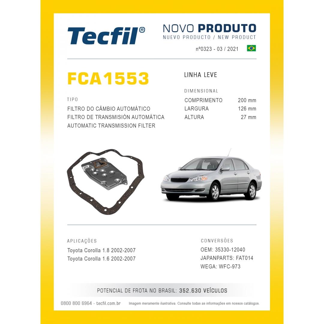 Filtro Câmbio Aut Corolla 1.6 1.8  2002 a 2007  FCA1553 Tecfil
