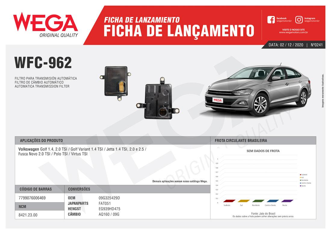 Filtro Câmbio Automático Jetta Golf Fusca Novo Wega Wfc962