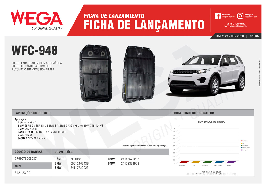 Filtro Câmbio Automático Mohave 3.0 4.6 BMW - Wega WFC948