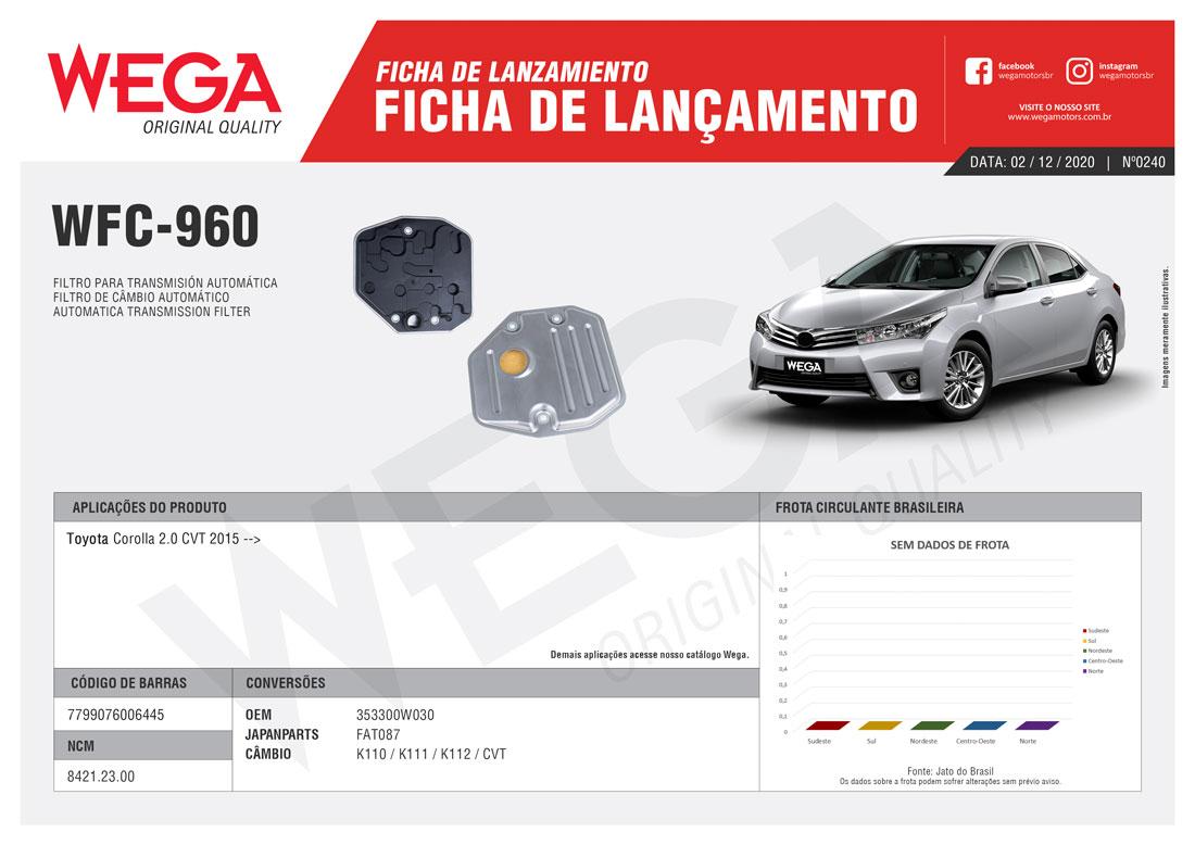 Filtro Câmbio Automático Toyota Corolla 2.0cvt 2015+. Wega Wfc960