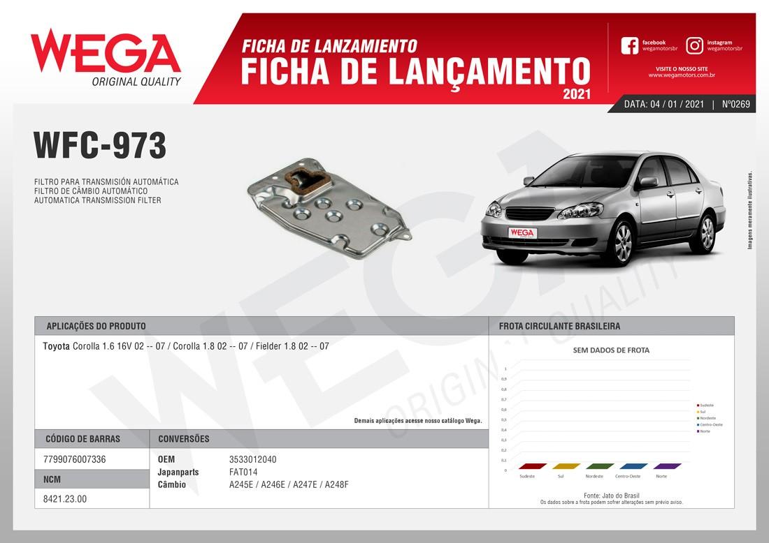 Filtro Câmbio Automático Toyota Wega Wfc973 3533012040