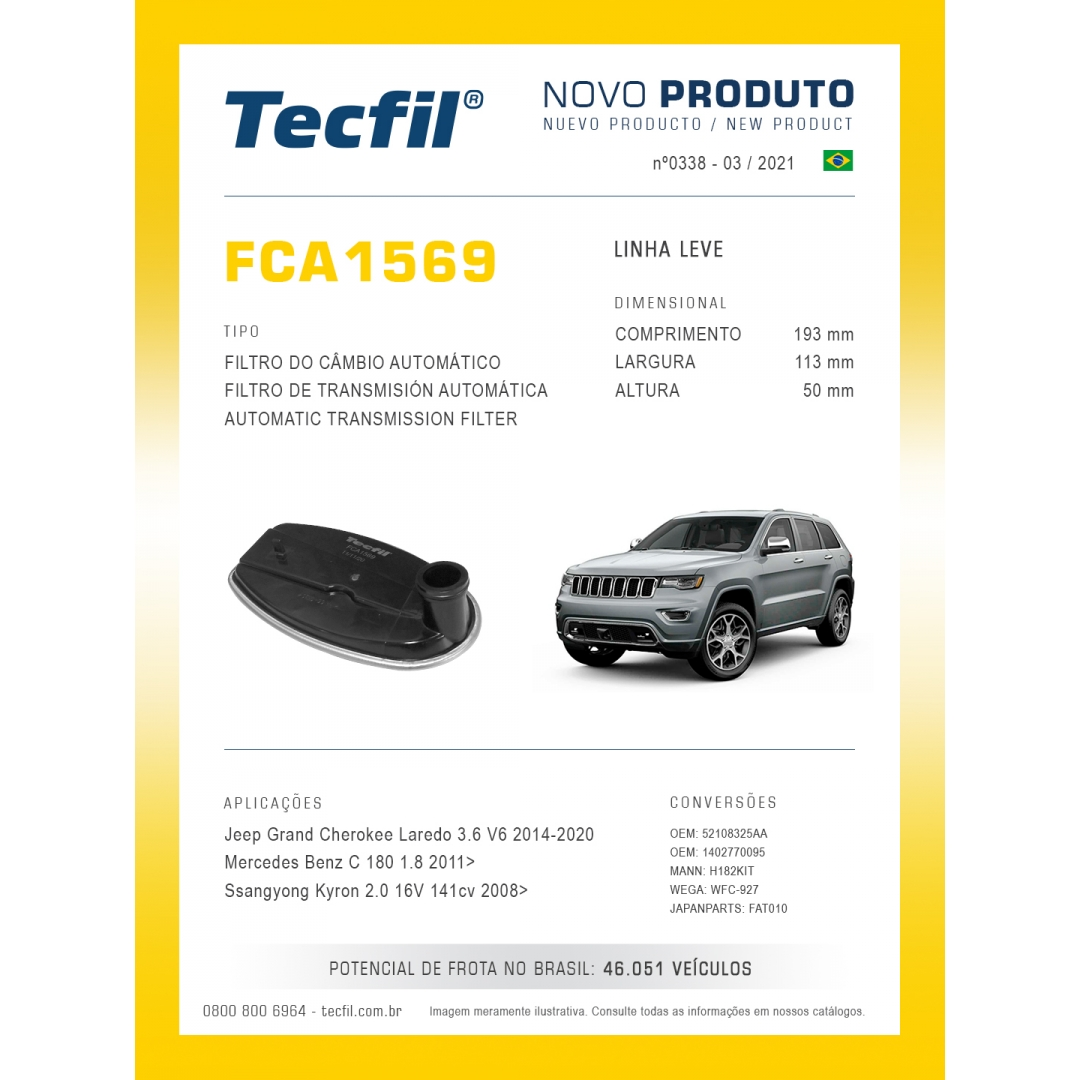 Filtro Cambio Cherokee Laredo MB c180 Kyron FCA1569 Tecfil