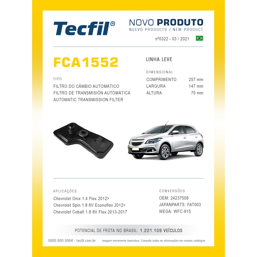 Filtro Cambio Onix Spin Cobalt Fca1552 Tecfil