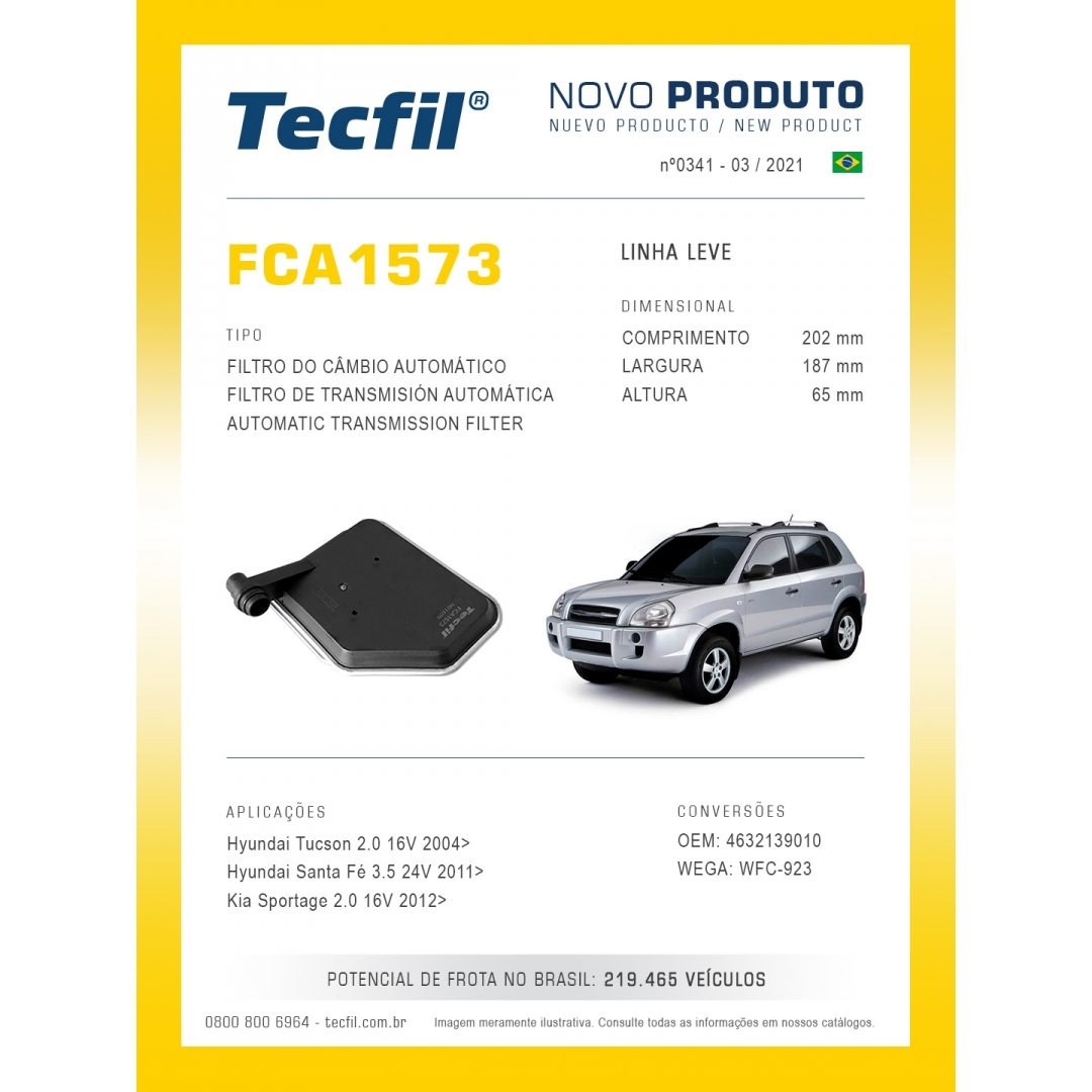 Filtro Cambio Tucson Santa Fé Sportage FCA1573 Tecfil