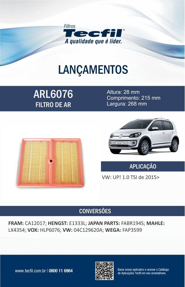 Filtro De Ar Do Motor Vw Fox Polo Up Virtus Tecfil Arl6076
