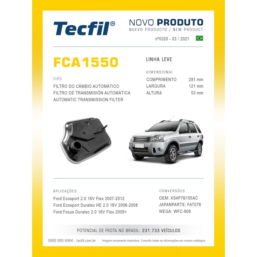 FILTRO PARA ÓLEO DE TRANSMISSÃO DO CÂMBIO AUTOMÁTICO FCA1550 TECFIL
