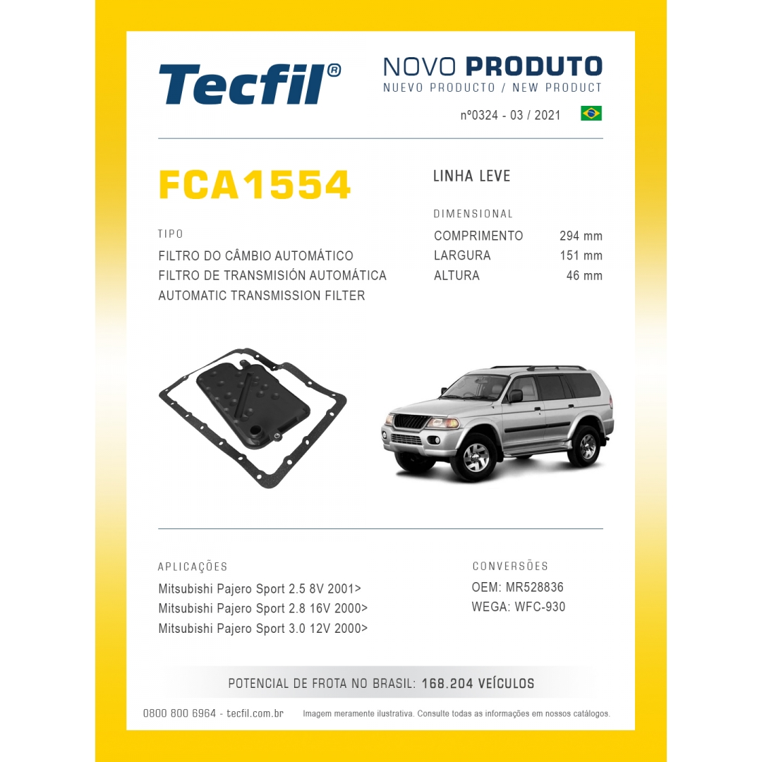Filtro Transm Câmbio Aut Pajero Sport Fca1554 Tecfil
