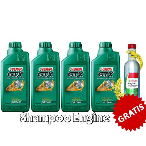 KIT 4 LTS GTX 25W60 + ENGINE shampoo CASTROL GRATIS