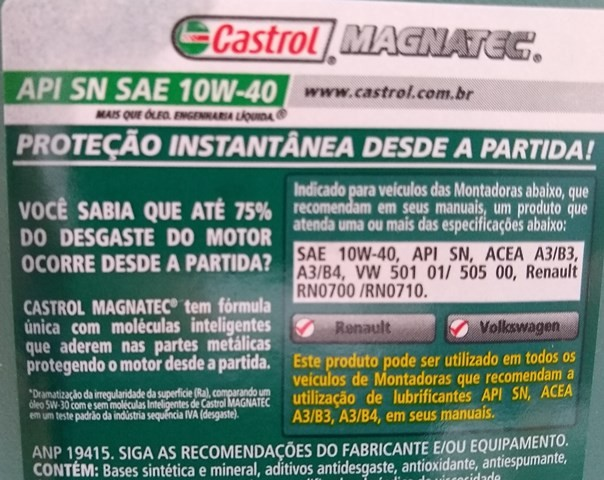 Kit 5 Litros Oleo Castrol Magnatec 10w40 Sn A3 + Tm2 Vw