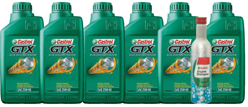 KIT 6 LTS GTX 25W60 + ENGINE shampoo CASTROL