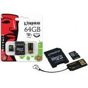 Cartao de Memoria Classe 10 Kingston MBLY10G2/64GB Multikit 64GB Micro Sdhc+adaptador Sd+adaptadorusb