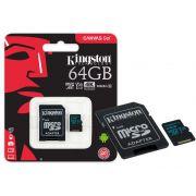Cartao de Memoria Classe 10 Kingston SDCG2/64GB Micro SDXC 64GB 90R/45W UHS-I U3 V30 Canvas GO