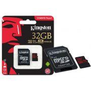Cartao de Memoria Classe 10 Kingston SDCR/32GB  Micro SDHC 32GB 100R/80W UHS-I U3 V30 Canvas React