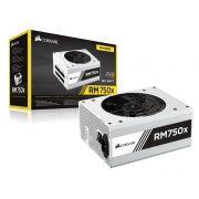 Fonte 80PLUS GOLD Corsair CP-9020155-WW RMX 750W ATX PFC Ativo FULL Modular Serie White