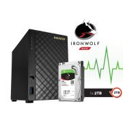 Sistema de Backup NAS com Disco Ironwolf Asustor AS1002T2000 V2 Marvell Dual Core 1,6 GHZ 512MB DDR3 Torre 2TB