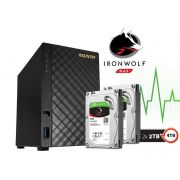 Sistema de Backup NAS com Disco Ironwolf Asustor AS1002T4000 V2 Marvell Dual Core 1,6 GHZ 512MB DDR3 Torre 4TB
