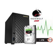 Sistema de Backup NAS com Disco Ironwolf Asustor AS1002T6000 V2 Marvell Dual Core 1,6 GHZ 512MB DDR3 Torre 6TB