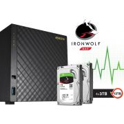 Sistema de Backup NAS com Disco Ironwolf Asustor AS3104T12000 Celeron Dual Core 1,6GHZ 2GB DDR3 Torre 12TB
