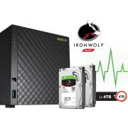 Sistema de Backup NAS com Disco Ironwolf Asustor AS3104T4000 Dual Core 1,6GHZ 2GB DDR3 Torre 4TB