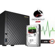 Sistema de Backup NAS com Disco Ironwolf Asustor AS3104T8000 INTEL Dual Core J3060 1,6GHZ 2GB DDR3 Torre  8 TB