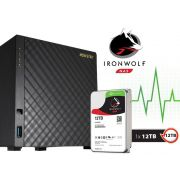 Sistema de Backup NAS com Disco Ironwolf Asustor AS3204T12000 Celeron Quad Core 1,6GHZ 2GB DDR3 Torre 12TB